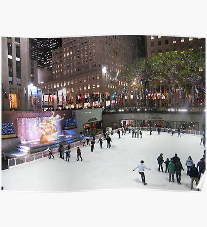 Rockefeller Center Skating Rink at Night, New York  Poster