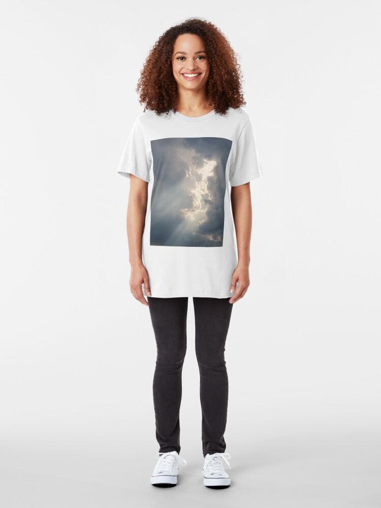 Alternate view of Sunbeam between storm clouds cloudscape Slim Fit T-Shirt