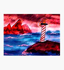 Lighthouse on stormy night, watercolor Photographic Print
