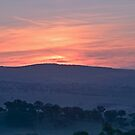 Red in the Sky, Mist in the Valley by bazcelt
