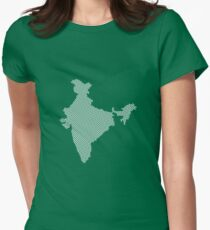 India abstract geometric pattern map Women's Fitted T-Shirt