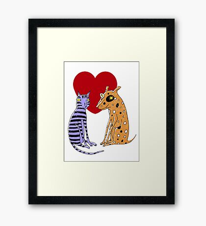 Opposites Attract Cat and Dog Framed Print
