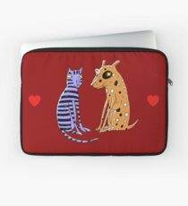 Opposites Attract Cat and Dog Laptop Sleeve