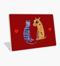 Opposites Attract Cat and Dog Laptop Skin