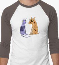 Opposites Attract Cat and Dog Men's Baseball ¾ T-Shirt