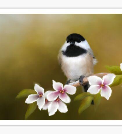 Apple Blossom Chickadee Sticker