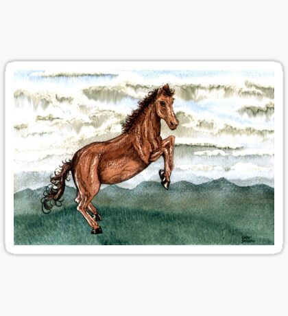 Cloud Burst Over Jeannie Horse Sticker