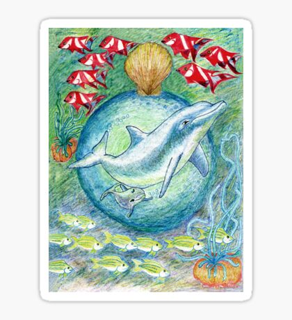Mother dolphin  Sticker