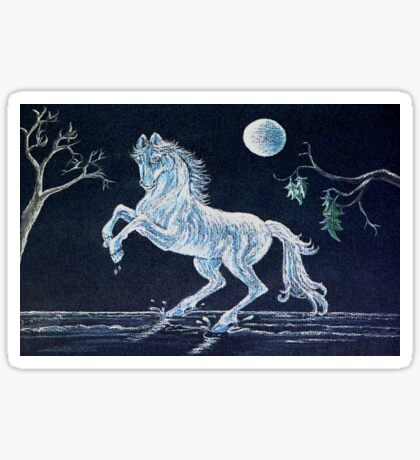 White Horse Under Moon Sticker