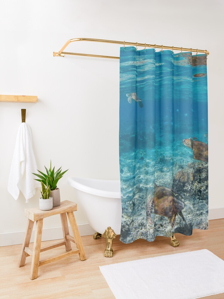 Alternate view of Turtle party  Shower Curtain