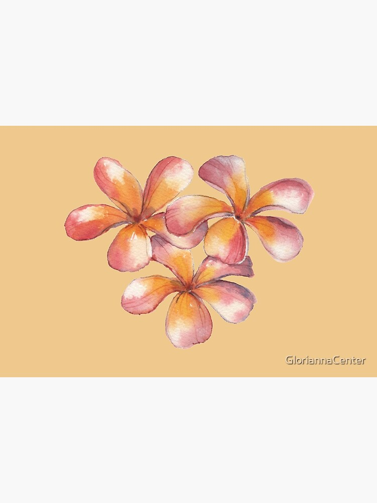 Watercolor orange pink blossoms by GloriannaCenter
