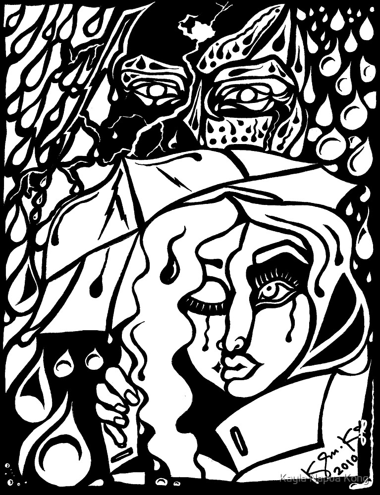 'Rain On Me In The Blackground ~ white on black' Pieces Art™ by Kayla Napua Kong