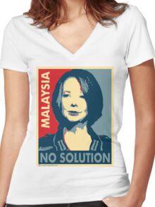 Julia Gillard - No solution  Women's Fitted V-Neck T-Shirt
