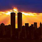 Heavenly Sunburst above the Twin Towers by David Alexander Elder