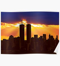 Heavenly Sunburst above the Twin Towers Poster