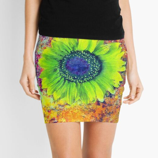 Abstract sunflower Mini Skirt
