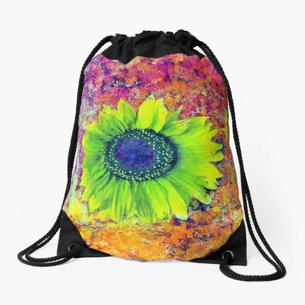 Abstract sunflower Drawstring Bag