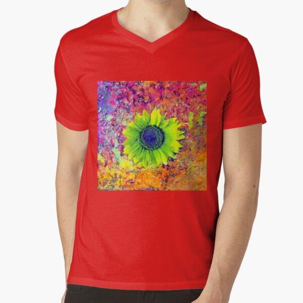 Abstract sunflower V-Neck T-Shirt