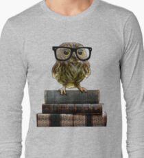 Adorable Nerdy Owl with Glasses Long Sleeve T-Shirt