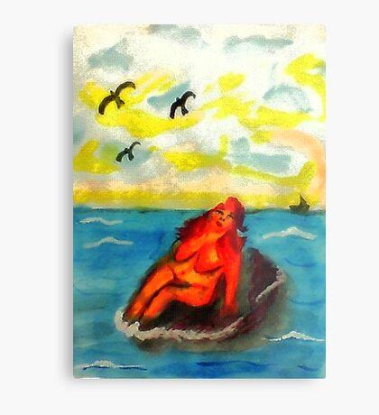 Where can a person sunbathe in privacy,,,watercolor Metal Print
