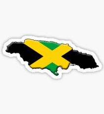 Jamaica flag and outline Sticker