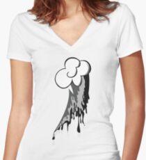 Monochrome Dash Women's Fitted V-Neck T-Shirt