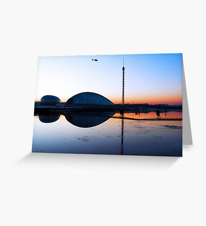 Sunset Glasgow Science Centre Greeting Card