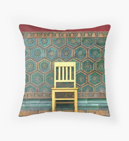 Yellow Chair at the Imperial Palace Throw Pillow