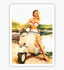 Bikini Scooter Girl Die Cut Sticker Sticker