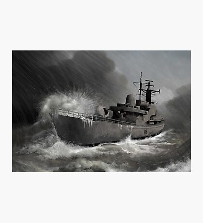 Battleship braving the storm Photographic Print