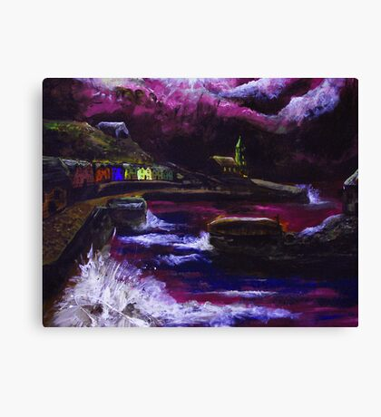 Painting of porthleven during a storm Canvas Print