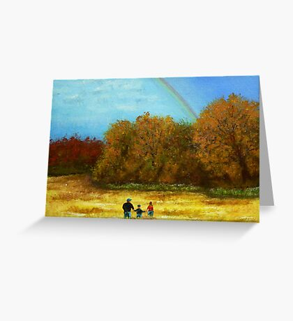 fall walk in the rain Greeting Card
