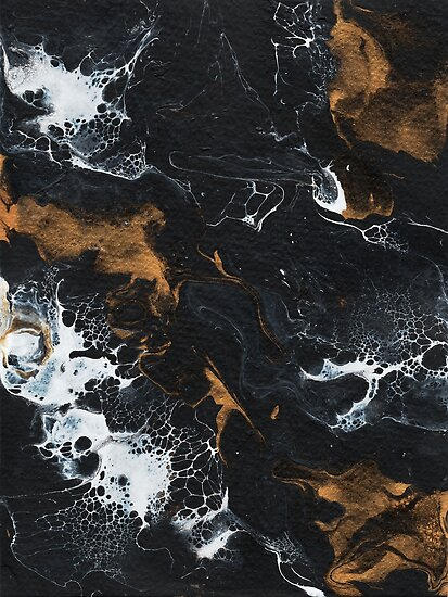 Abstract Acrylic Pour Black Gold White