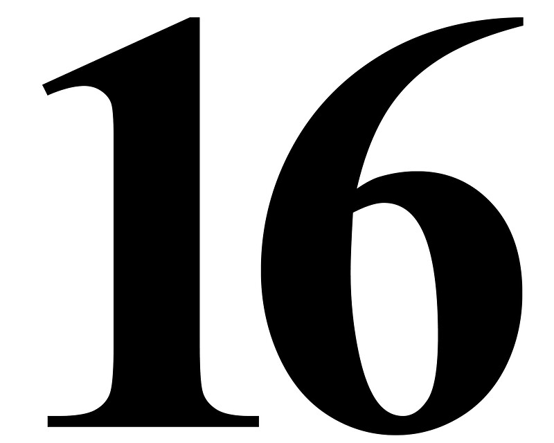 """Number 16 in Black Times New Roman Serif Font Typeface ..."