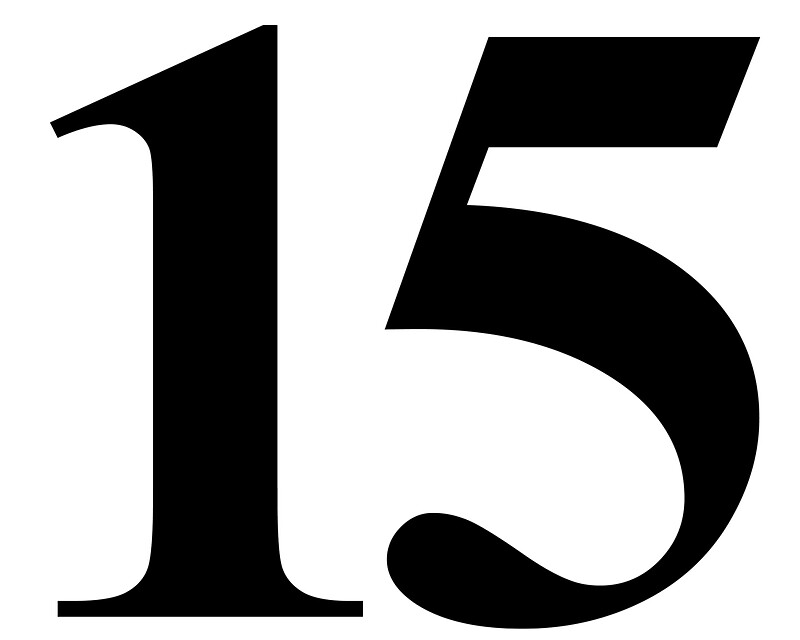 number 15 in black times new roman serif font typeface stickers