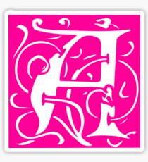 Letter 'A' in Vintage Monogram Pink Retro Script Sticker