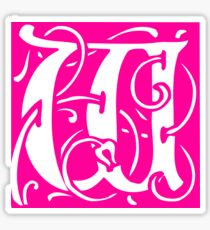 Letter 'W' in Vintage Monogram Pink Retro Script Sticker