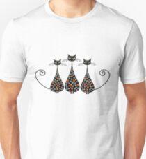 Thre Funky Black Cats Unisex T-Shirt
