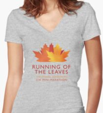 Running of the Leaves Women's Fitted V-Neck T-Shirt