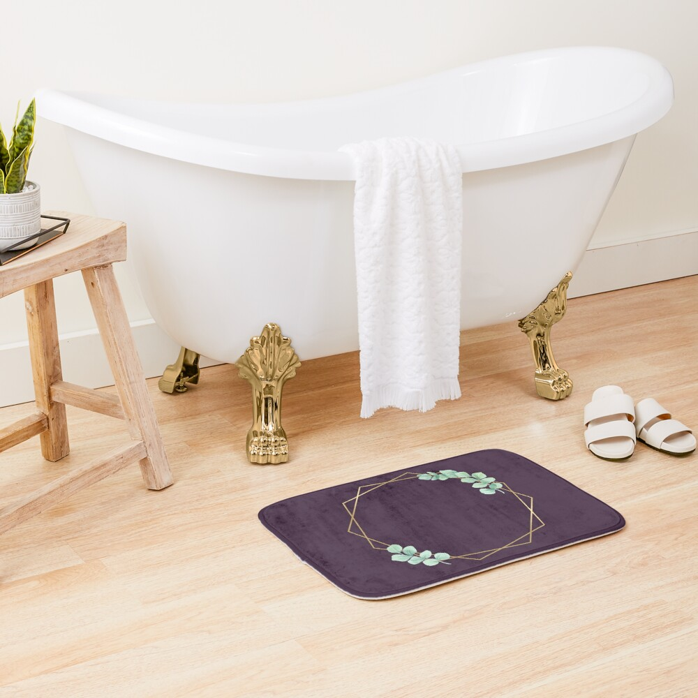 Gold shape with leaves Bath Mat