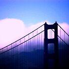Golden Gate Bridge in golden rainbow light by loiteke