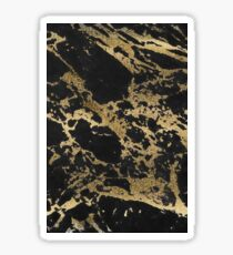 Modern faux gold glitter black marble Sticker