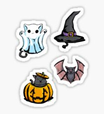 Cute Halloween Cat Kitten Bat Pattern Sticker