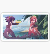 RU and Mako beach fun Sticker
