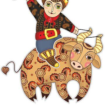Man Astride Bull by Netopir