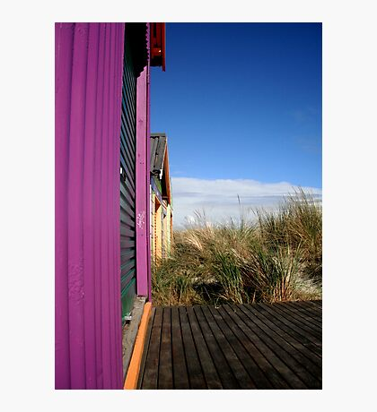 Cute Purple Beach Hut Photographic Print