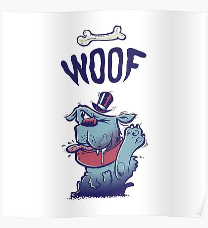 Woof Top Hat Dog Poster