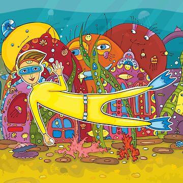 Diver Underwater Inhabitant by Netopir