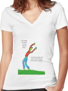 No Longer Content to Just Tap His Toes... Women's Fitted V-Neck T-Shirt