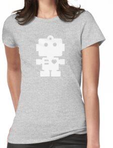 Robot - fresh spearmint & white Womens Fitted T-Shirt